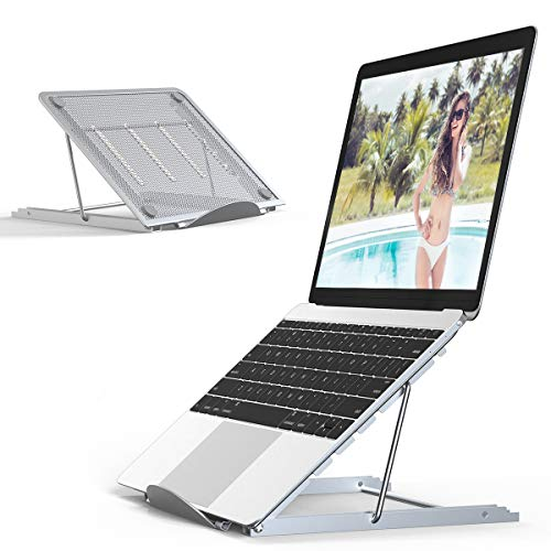JUMKEET Laptop Stand,Foldable Portable Ventilated Desktop Laptop Holder,Universal Lightweight&Adjustable Ergonomic Tray Mount Compatible with iM(ac)/Laptop/Notebook Computer/Tablet (Silver)