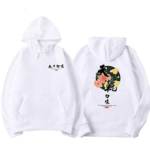 hjkg Hoodie Drucken Chinesische Schriftzeichen Weißes Vlies Lässig Ukiyo-E Original Grafikpaar Harajuku Neuheit Graffiti Kanji Hip Hop Sportswear Streetshirt Pullover Männer Frauen Unisex, XL