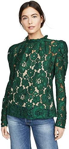 WAYF Women s Emma Puff Sleeve Lace Top Hunter Green Small product image