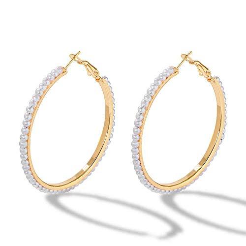 JIAJBG Pendientes de Perlas Imitadas Hechas a Mano Pendientes de Aro para Mujeres Pendientes de Círculo en Forma de C Moda/C