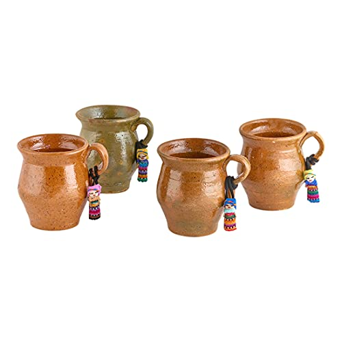 Clayfully, 4 Guatemalan Tipico Clay Mugs Handmade from All Natural Earthen Materials, Terracotta - Traditional Pottery, Multi-Purpose Ceramics Cups for Hot Drinks, Tea, Chocolate, Coffee - Pack of 4