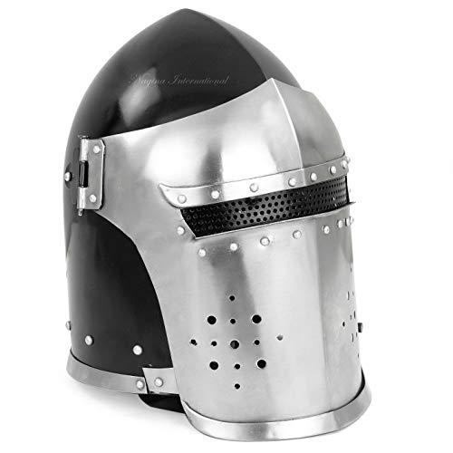 Nagina International Helmet Barbuta Visored Medieval Knight Armour Warrior Accessories | Templar Crusader Steel LARP Helmet