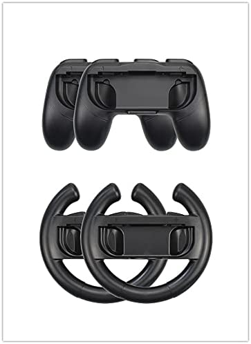 Color You 4 Pack NS Steering Wheel and NS ControllerHolder Kit, Comfort Mario KartSteeringWheel with NSJoy-Conl for NS Joycon Controller(Black)