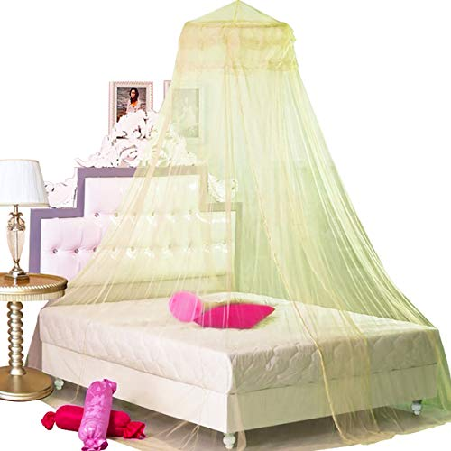 BCBYou Princess Bed Canopy Netting Mosquito Net Round Lace Dome for Twin Full and Queen Size Beds Crib with Jumbo Swag Hook (Yellow)