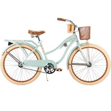 """Huffy 24"""" Women's Nel Lusso Cruiser Bike, 54576, Mint, Wire Basket"""