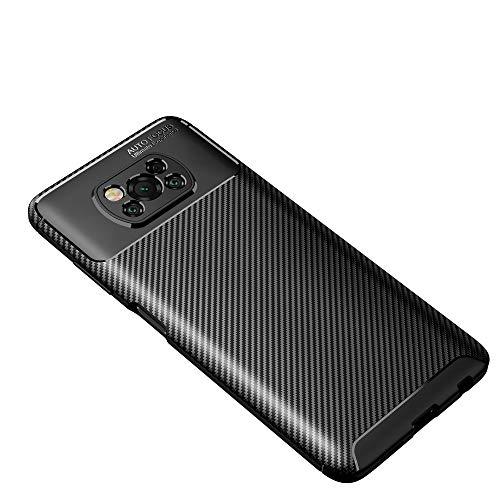 Haotian Compatible para Funda Xiaomi Poco X3 NFC, Textura de Fibra de Carbono Diseño Simple y Elegante Bonita y Resistente, Ligera y Flexible. Negro
