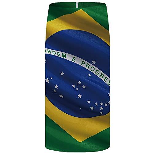 Falda Midi De Mujer,Faldas De Tubo Para Mujer Bandera De Brasil Impreso Estiramiento De Cintura Alta Falda...