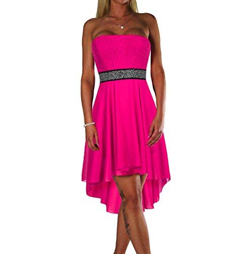 ALZORA Damen Kleid Bandeau Abendkleid Cocktailkleid mit Spitze Partykleid Ballkleid Sommerkleid, 10601 (S, Pink)