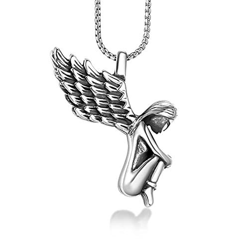 AMOZ Angel Pequeño Collar Fresco, Personalidad Caído Angel Colgante, Collar de la Biblia de Moda, Actualización/a/Unir