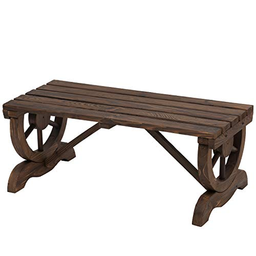 Outsunny Garden Rustic Wooden Bench Wheel-Shaped Legs Slatted Seats Stable Reinforced Structure Outdoor Patio Garden 2-Person Bench Seat - Brown