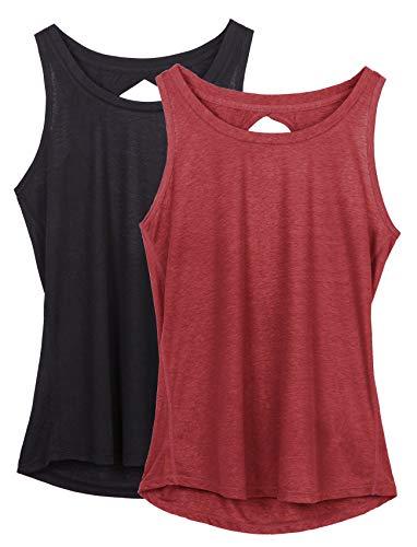 icyzone Damen Yoga Sport Tank Top Rückenfrei Fitness Oberteil ärmellos Shirts, 2er Pack (XL, Schwarz/Weinrot)