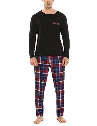 Sykooria Conjunto de Pijama de Longitud Completa para Hombre