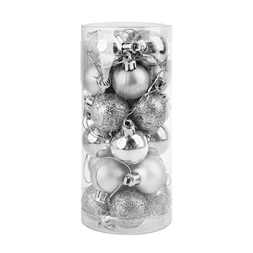 Bingxue 24 palline decorative per albero di Natale da 3 cm, decorazioni da appendere per casa, Capodanno, feste di nozze, decorazioni natalizie, argento (70 x 156 mm)