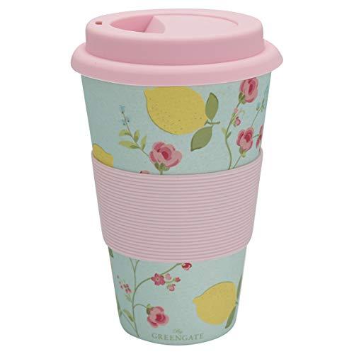 GreenGate - Travel Mug - Coffee to go - Becher - Limona - Zitronen - Pale Blue - Bambus