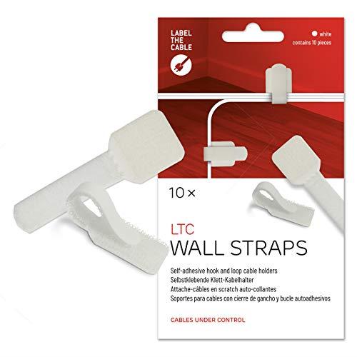 Label-the-cable Kabelhalter selbstklebend mit Klettverschluss, Kabelführung, Kabelbinder, Kabelbefestigung, Kabelschellen, für Wand und Schreibtisch/ LTC WALL STRAPS, 10 Stück, Weiß, LTC 3120