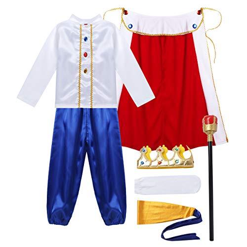inlzdz 7Pcs Disfraz de Prncepe para Nios con Accesorios Cosplay Disfraz de Rey Fiesta Carnaval Hallowen Disfraz de rol para Fiesta Cumpleaos Fotos Blanco 7-8 aos