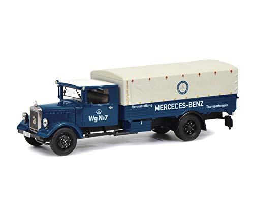 Schuco 450310500 MB 450310500-Mercedes Benz Lo 2750 Transportwagen, Modellauto, 1:43, blau-weiß