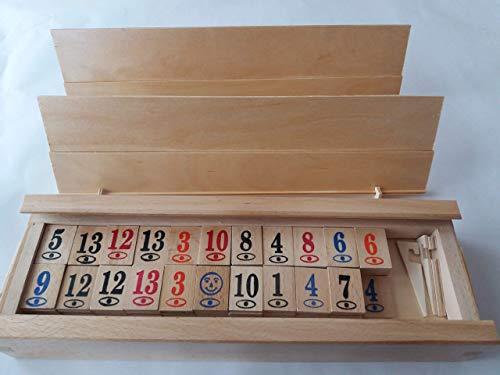 Gran juego de rummikub rummy hecho a mano de madera completo enorme Juego de mesa de estrategia de juego de viajes para niños en el regalo de caja de madera grande