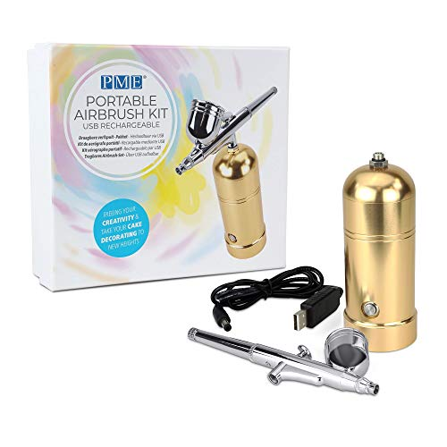 PME Portable Airbrush Kit USB Rechargeable for Cake Decorating, Standard, Rose Gold