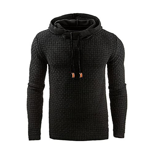 Sudadera con capucha para hombre con capucha Chaqueta única, Negro, XXL