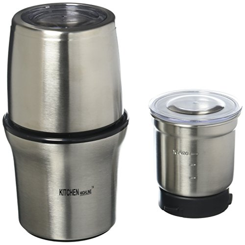 Kitchen Highline 342612 SP-7412S Stainless Steel Wet and Dry Coffee/Spice/Chutney Grinder with Two B