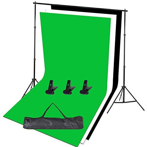 Kit support réglable pour prise en charge de toile de fond Studio photo 1.6x 3m Noir/blanc/vert Fond d'écran + Support de fond + Carry Bag-photo Studio Set de photographie