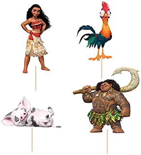 Cupcake Toppers for Kids' Parties, Pack of 24, Enough to Decorate Two Dozen Cupcakes (Moana Design #2)