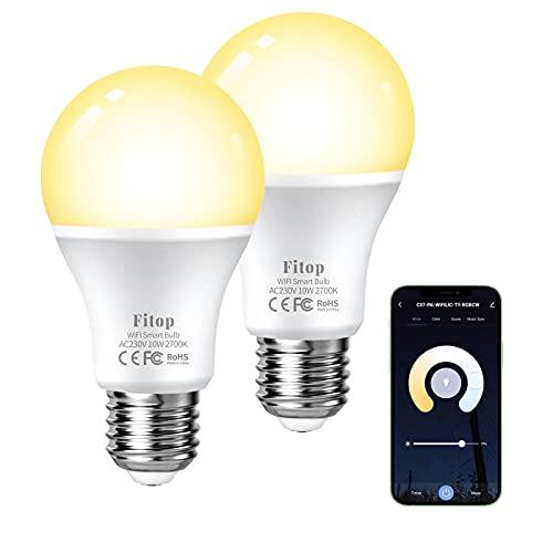 Lampadina Smart WiFi E27, Fitop Lampadina Intelligente LED 9W Equivalente a 80W Dimmerabile Luce Bianca Calda 2700K, Compatibile con Alexa e Google Home, 2 pezzi