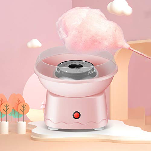 LHChan Cotton Candy Machine for Kids Adults,Homemade Mini Cotton Candy Maker with 10 Cones and Sugar Scoop,Kid's Birthday Christmas Gifts for Party (Pink)