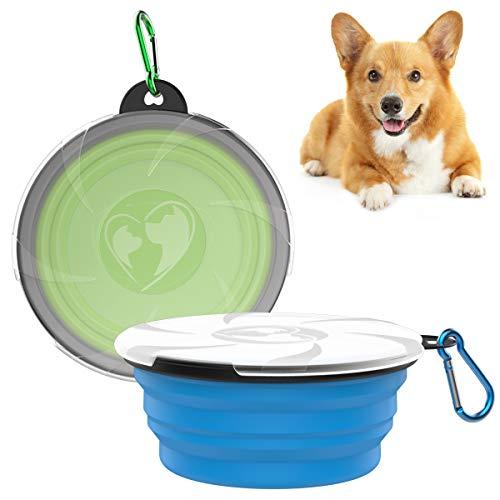 VavoPaw Klappbarer Hundenapf, 2 Stück Haustier Reisenapf mit Deckel Tragbare Silikon Fressnapf Wassernapf Trinknapf für Reise Spaziergänge Zwinger Camping - Blau & Grün
