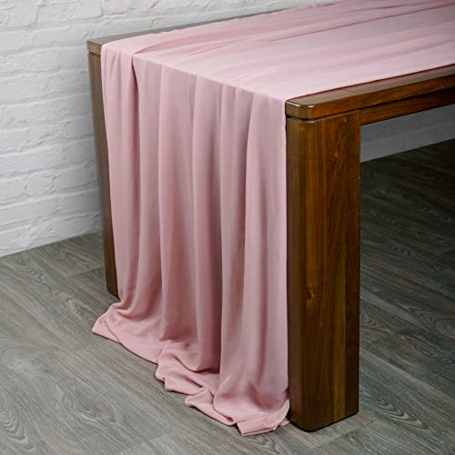 Bluekate Chiffon Fabric. 5 Yard Continuous Sheer Fabric. Voile Fabric Dusty Rose Table Runner, Chiffon Table Runner, Gauze Wedding Table Runner, Wedding Arch Draping Fabric, Chiffon Scarf or Blouses