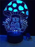 3D Illusion Night Light Led Lamps Mushroom House Plant Kid Lamp LED USB Night Light Multicolor RGB Cartoon Desk Table for Kids Room Decor, 7 Color Change with Touch Boys Girls Gifts ZHUILWL
