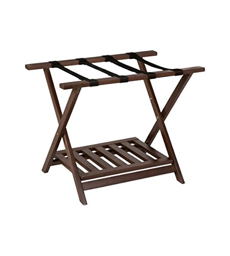 PJ Wood Luggage Rack With Shelf In Color L 26.60' x W 20.50' x H 18.50' inches Walnut
