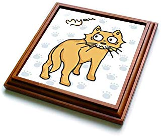 3dRose Warya - Animals. - Ginger Cat Say Meou - 8x8 Trivet with 6x6 ceramic tile (trv_299938_1)