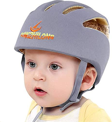 IULONEE casco da bambino infantili cappello di testa di cotone cappello del bambino regolabile di sicurezza casco(Grigio)