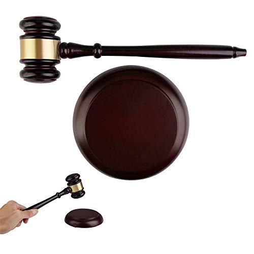 Richter Hammer Holzhammer und rundem Block-Set,Auktion Hammer, Rechtsanwalt Richter Auktion Handarbeit, Spielzeug Schlägel für Anwälte, Studenten, Richter, Auktionskalon, Lehrtreffen