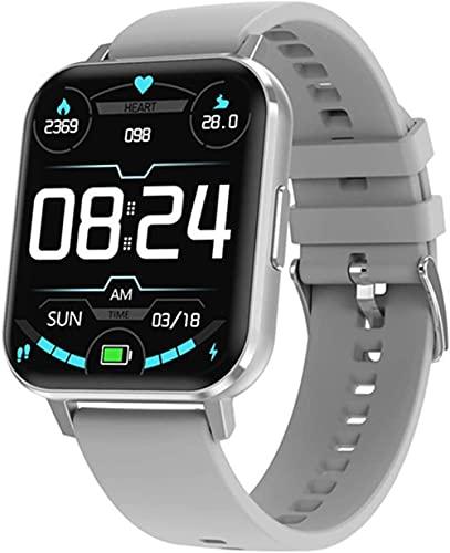 Reloj Inteligente Pantalla Completa Reloj Inteligente Hombres IP68 Impermeable Frecuencia Cardíaca Presión Arterial Múltiple Deporte Smartwatch-Silicio Plata