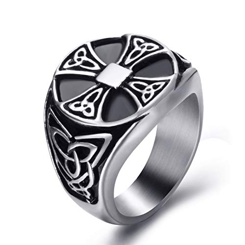 Elfasio Celtic Rings for Men Solar Cross Symbol Stainless Steel Silver Black Vintage Jewelry Szie 11