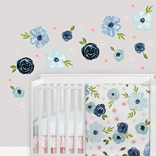 Sweet Jojo Designs Blue Watercolor Floral Large Peel and Stick Wall Decal Stickers Art Nursery product image