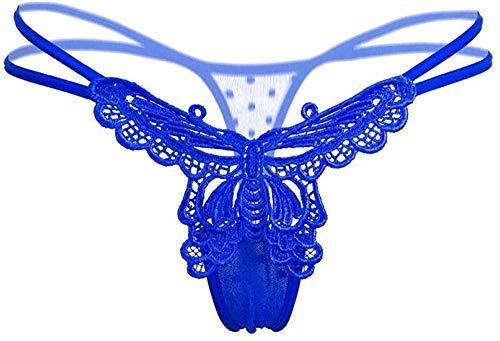 Giarrettiere e Bretelle da Donna Mutandine Sexy Pizzo Vita Bassa Solido Slip Sexy Cinturino Incrociato Lingerie di Pizzo Perizoma-Blue_One_Size
