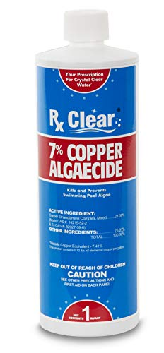 Rx Clear 7% Copper Algaecide | Kills and Prevents Algae for In-Ground and Above Ground Swimming Pools | Safe Formula for Swimmers | One Quart Bottles | Single Pack