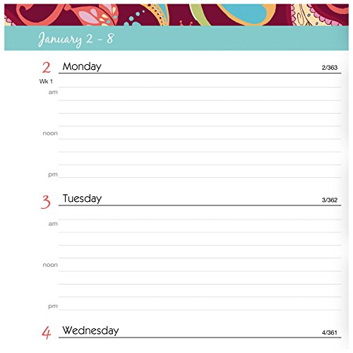 """AT-A-GLANCE Weekly / Monthly Appointment Book / Planner 2017, 5-1/2 x 8-1/2"""", Premium, Playful Paisley (952P-200) Photo #2"""