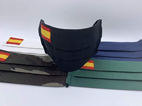 Pack 2 unidades de algodon color negro con bandera de España