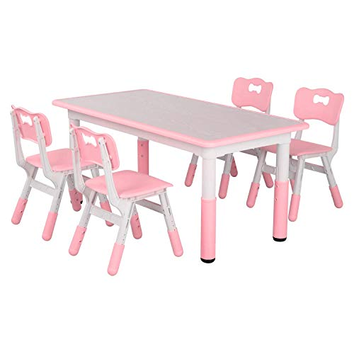 LAZY BUDDY Kids Study Table and Chairs Set, Height Adjustable Plastic Children Art Desk with 4 Seats, Activity Toddler Furniture Gift for Boys &...