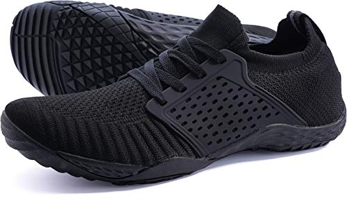 WHITIN Women's Low Zero Drop Shoes Minimalist Barefoot Trail Running Camping Size 8.5 Wide Toe Box for Female Lady Fitness Gym Workout Sneaker Tennis Flat Comfortable Treadmill Black 39