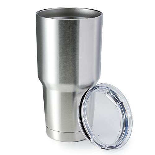 HASLE OUTFITTERS 30oz Tumbler Stainless Steel Coffee Tumbler Double Wall Vacuum Insulated Travel Mug with Lid (Silver, 8 Pack)