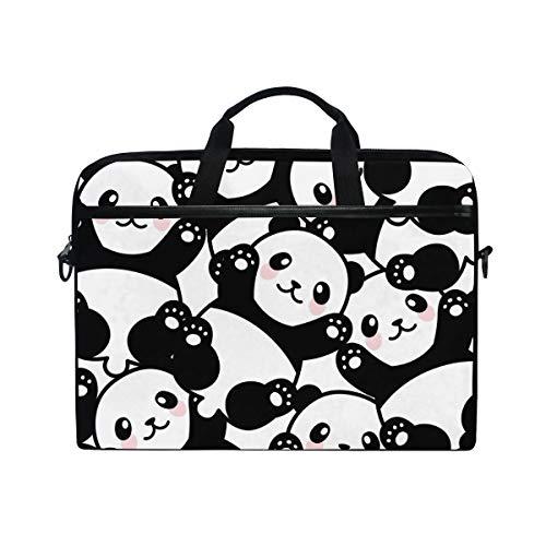 Linomo Computer Bag Cute Animal Panda Pattern Laptop Sleeve Case Briefcase Messenger Sleeve Laptop Shoulder Bag fits 13 Inch 14 Inch 14.5 Inch Laptop for Women Men Office Kids School