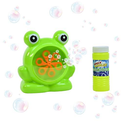 Sunny Days Entertainment Maxx Bubbles Mini Green Frog Bubble Machine  Durable Automatic Bubble Blower for Kids Parties | Includes Bubble Solution