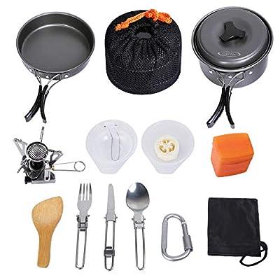 G4Free 16PCS Outdoor Camping pan Hiking Cookware Backpacking Cooking Picnic Bowl Pot Pan Set Camping Cookware Mess Kit Knife Spoon(16 PCS-Grey)
