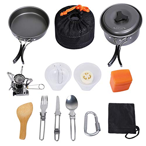 G4Free 16PCS Outdoor Camping pan Hiking Cookware Backpacking Cooking Picnic Bowl Pot Pan Set Camping Cookware Mess Kit Knife Spoon(16 PCS-Grey)